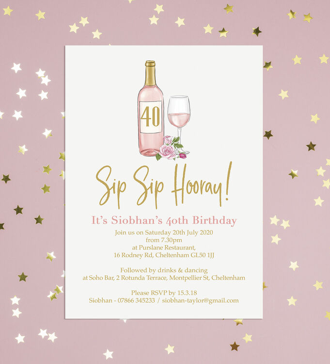 It is a graphic of Sip Sip Hooray Printable with regard to 40 year logo