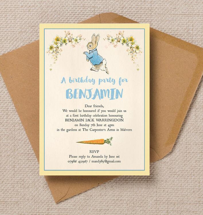 Beatrix Potter Peter Rabbit Party Invitation