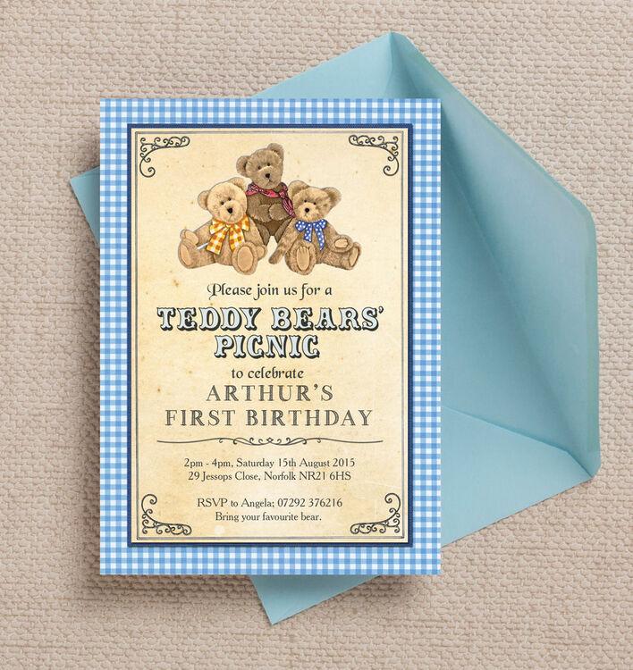 Teddy Bears Picnic Kids Party Invitation