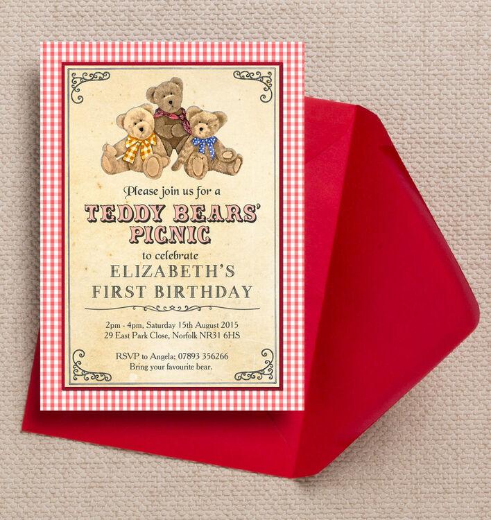 Teddy Bears\' Picnic Kids Party Invitation