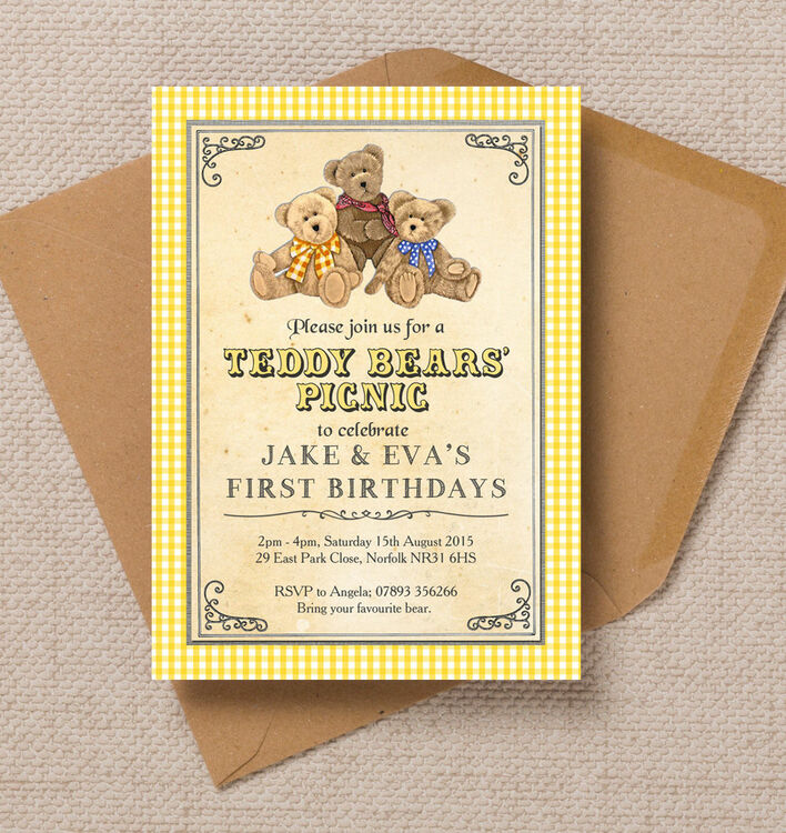 Teddy Bears\' Picnic Kids Party Invitation