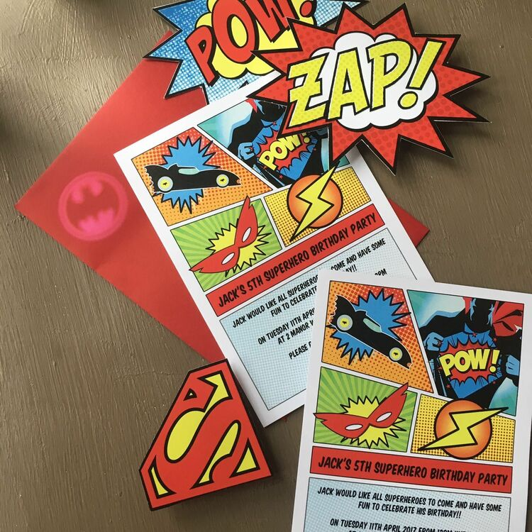 Superhero Children\'s Party Invitation from £0.80 each