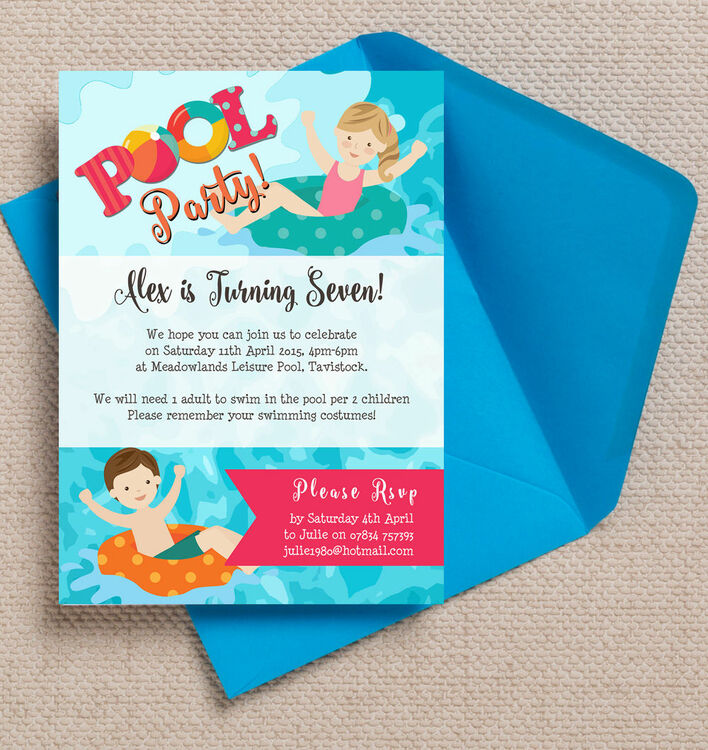 swimming pool party invitation from 0 80 each