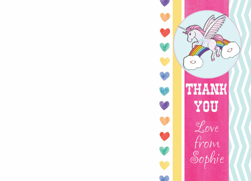 rainbow unicorn thank you cards from £075 each