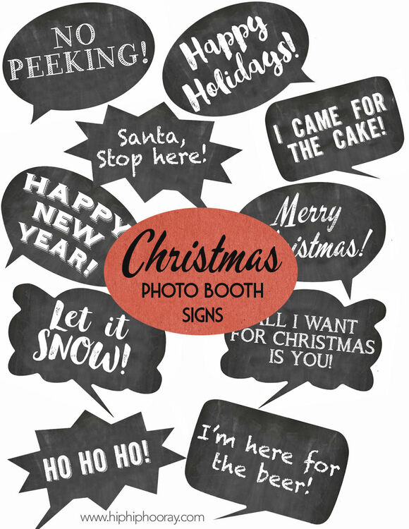 photo relating to Photo Props Printable titled Xmas Vacation Chalkboard Speech Bubble Slogans