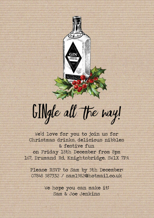 gingle all the way personalised christmas party invitations
