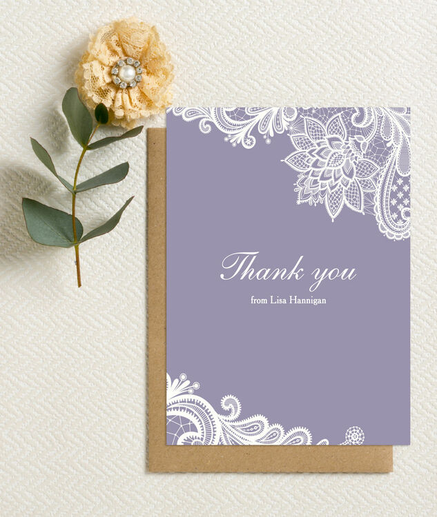 Personalised Lilac White Lace Thank You Cards Printable Or