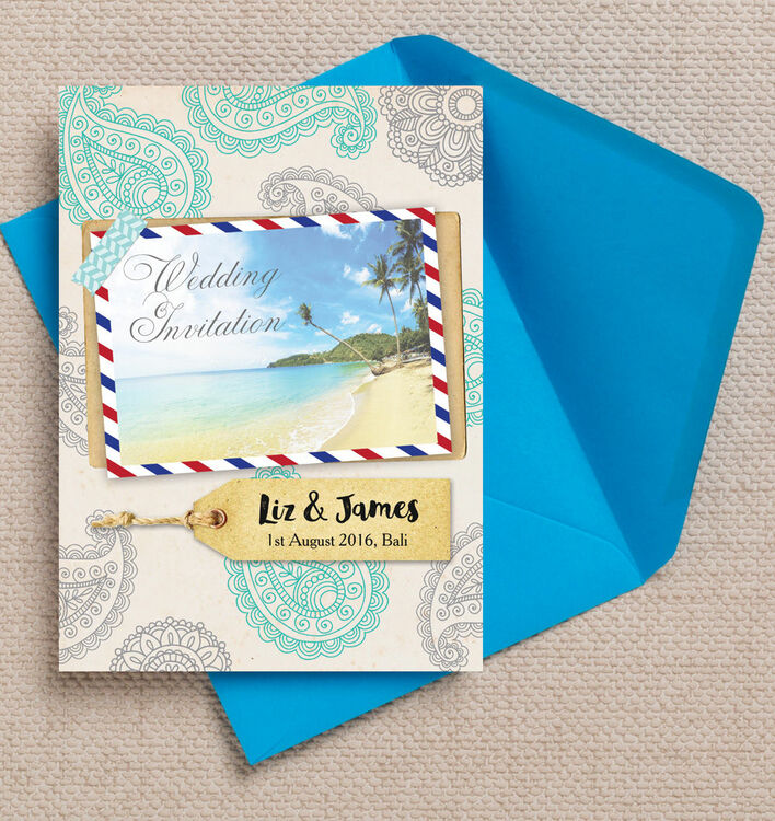 Exotic Beach Postcard Wedding Invitation from £1.00 each