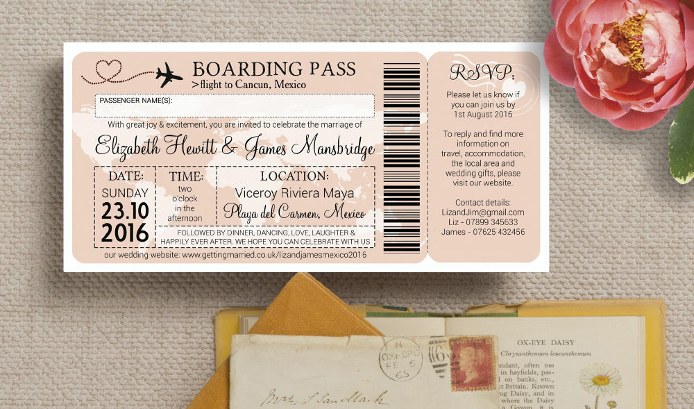 Airline Boarding Pass Travel Themed Wedding Invitation