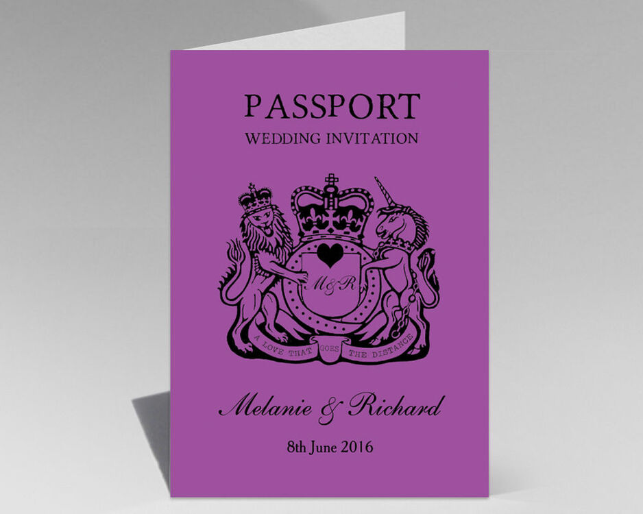 Personalised Passport Travel Themed Wedding Invitation