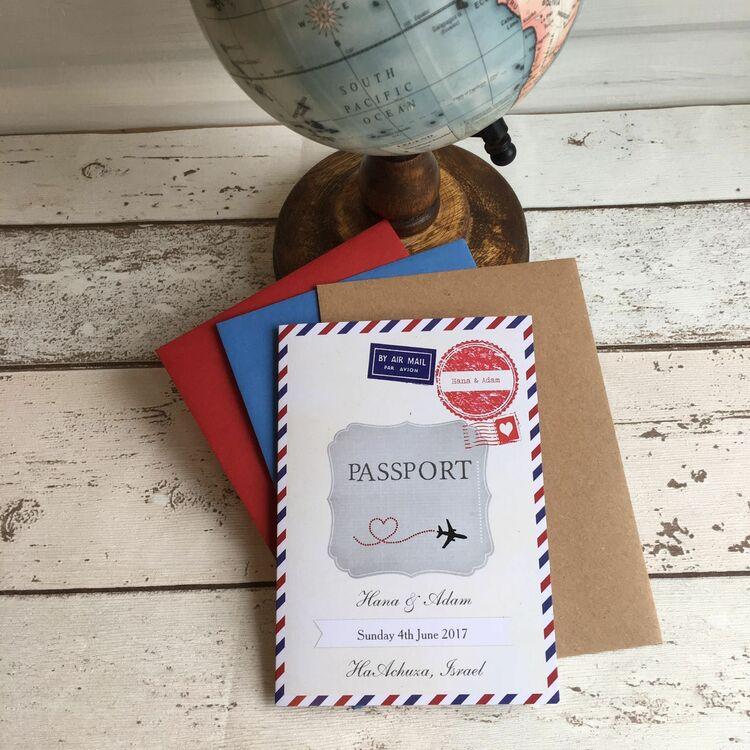 Airmail Wedding Invitations: Vintage Airmail Passport Wedding Invitation From £1.00 Each