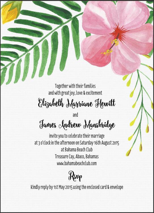 tropical flower destination wedding invitation from  u00a31 00 each