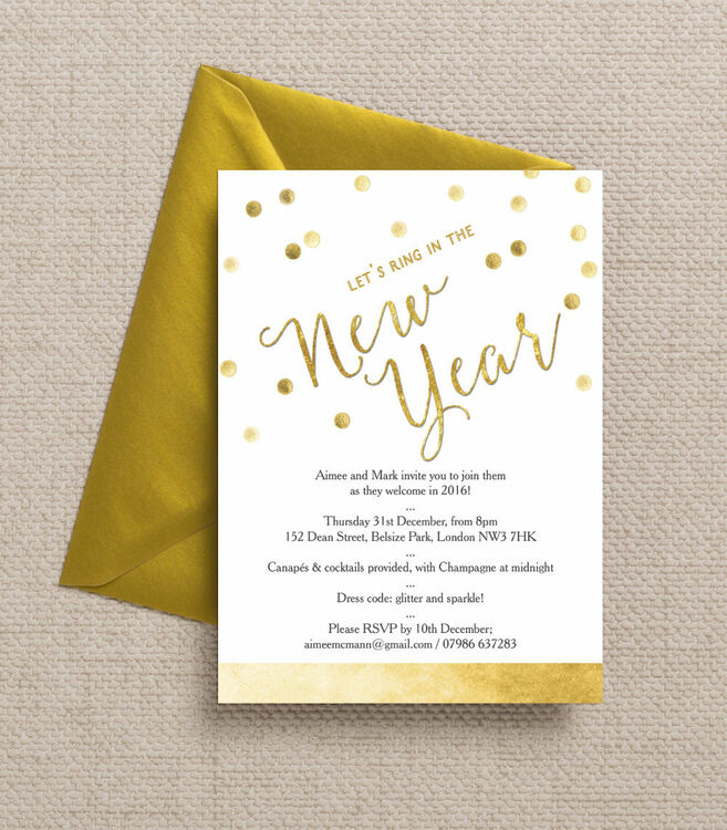 Gold Confetti New Years Eve Party Invitation from £1.00 each