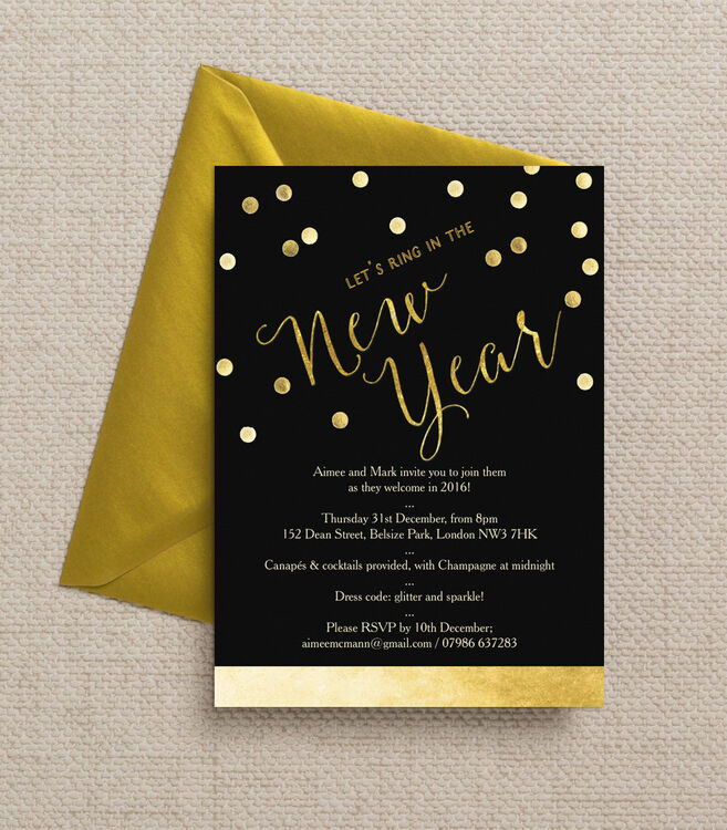 Black and Gold Confetti New Years Eve Party Invitation from £1.00 each