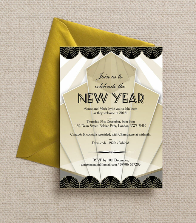 Black and Gold Art Deco New Years Eve Party Invitation from £1.00 each