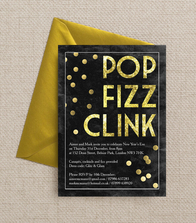 Pop Fizz Clink New Years Eve Party Invitation from £1.00 each