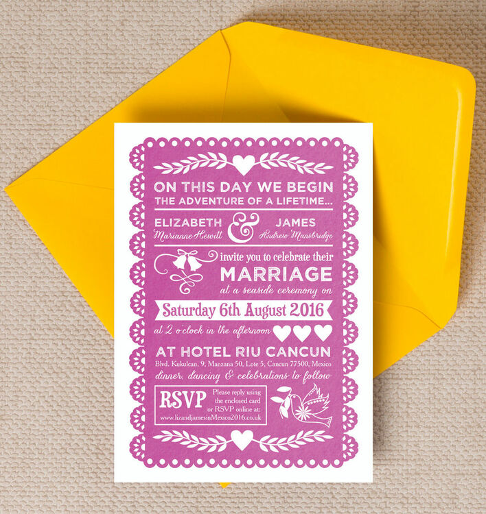 Mexican Inspired Papel Picado Wedding Invitation from £1.00 each