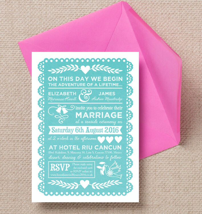 Mexican Inspired Papel Picado Wedding Invitation from 100 each