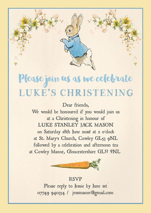 Peter Rabbit Christening Baptism Invitation From 0 80 Each