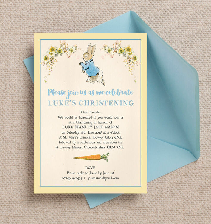 Peter Rabbit Christening / Baptism Invitation ...