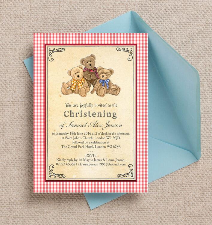 Teddy Bears\' Picnic Christening / Baptism Invitation from £0.80 each