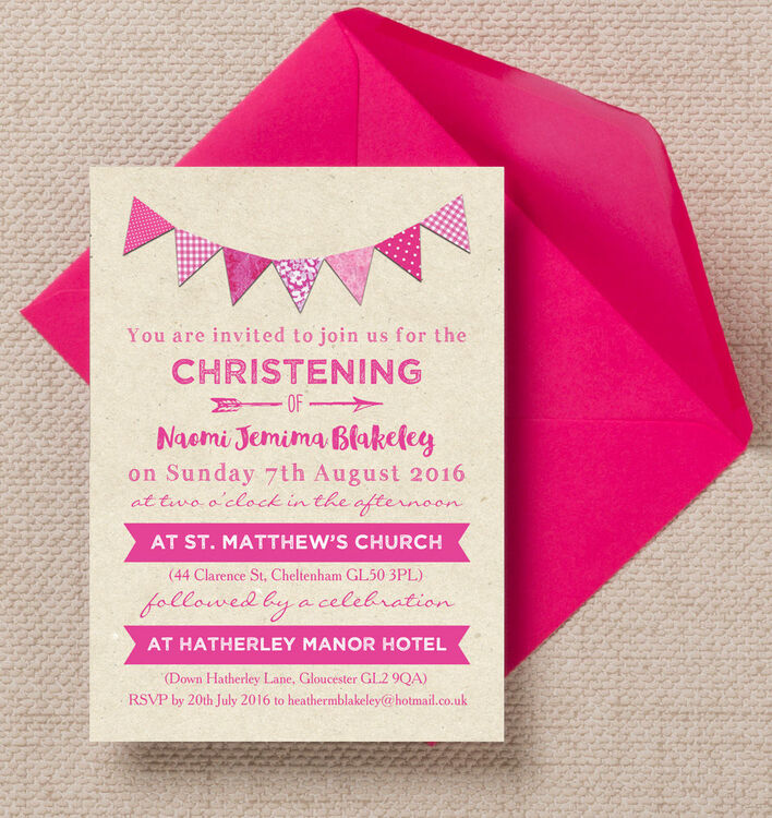 Vintage pink bunting christening baptism invitation from 080 each vintage pink bunting christening baptism invitation additional 1 stopboris Images