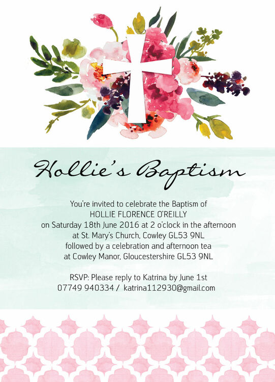 watercolour floral christening baptism invitation from 0 80 each