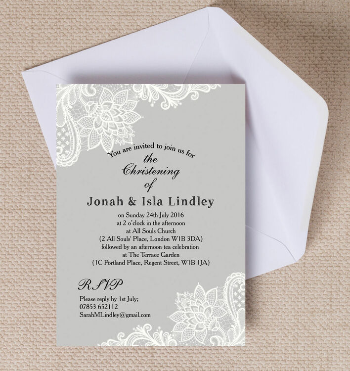 grey white vintage lace christening baptism invitation from