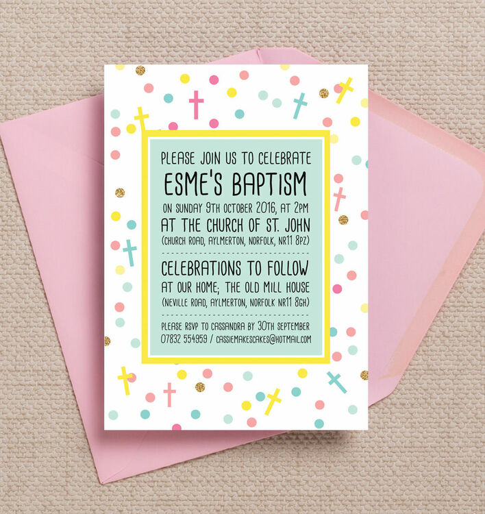 pastel confetti personalised christening baptism invitation from
