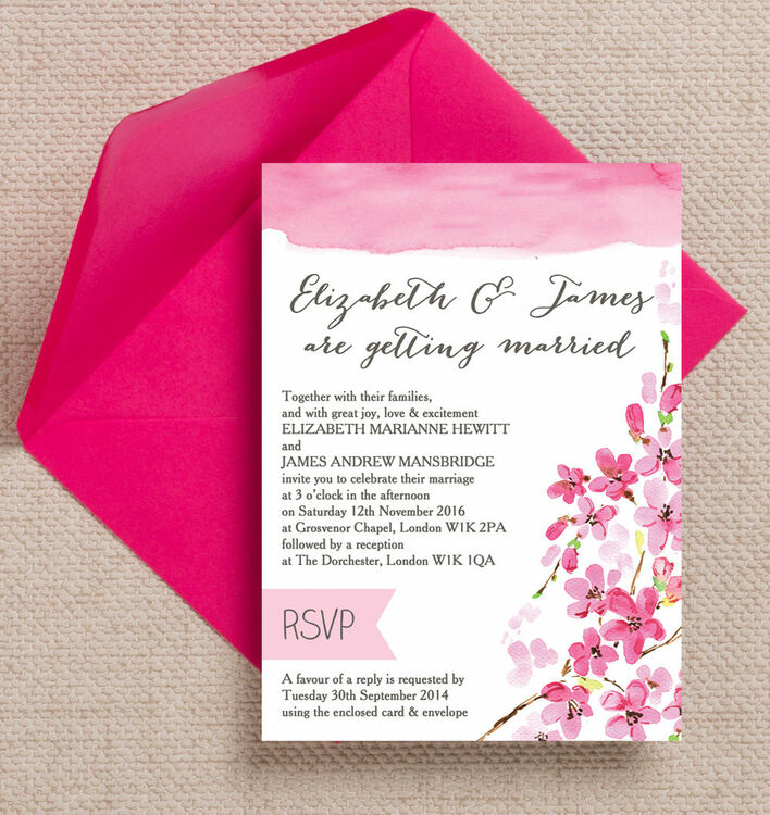 Cherry Blossom Wedding Invitation from £1.00 each