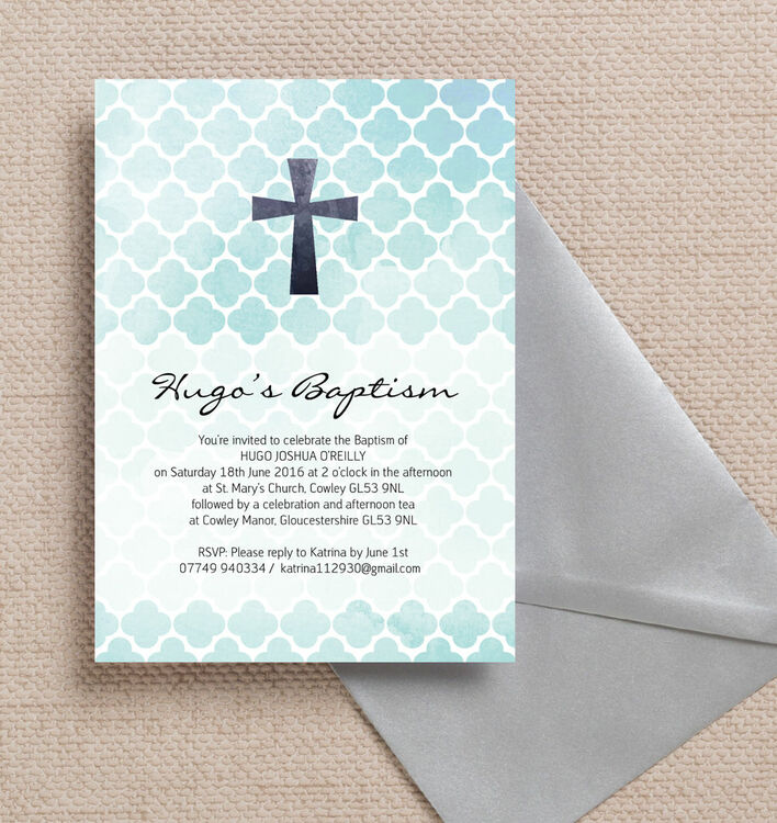watercolour geometric personalised christening baptism invitation