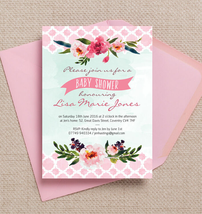 Watercolour Floral Baby Shower Invitation from £0.80 each