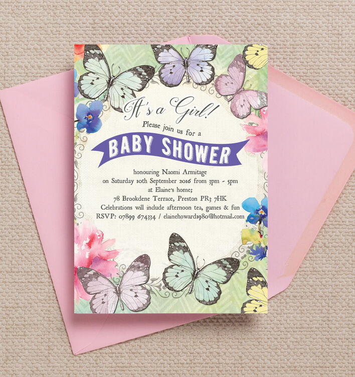 Butterfly Baby Shower Invites: Butterfly Garden Baby Shower Invitation From £0.80 Each