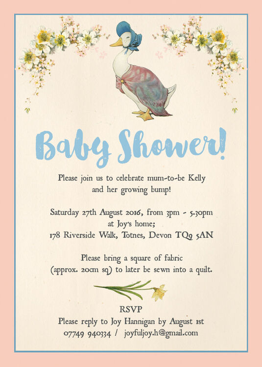 ... Jemima Puddle Duck Baby Shower Invitation Additional 3