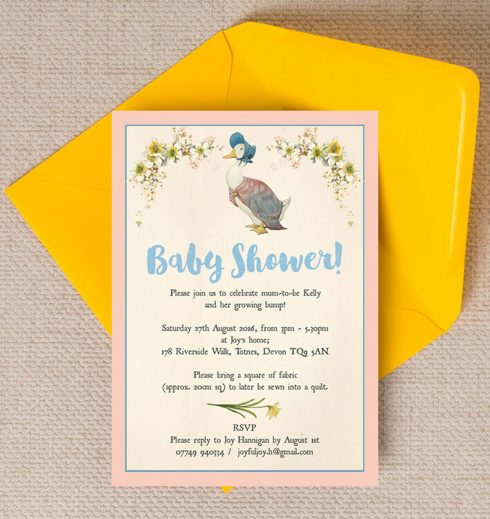 Jemima Puddle-Duck Baby Shower Invitation from £0.80 each