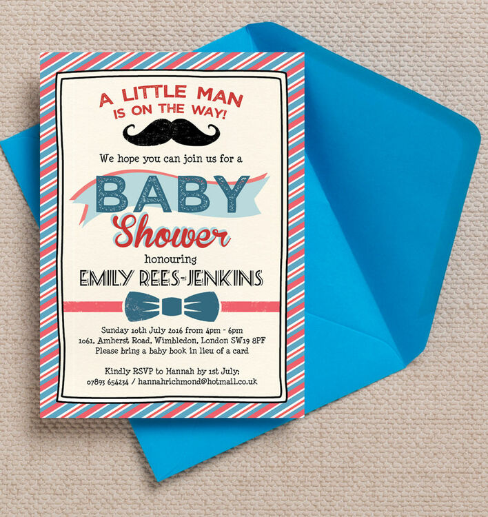Little Man Baby Shower Invitation from £0.80 each