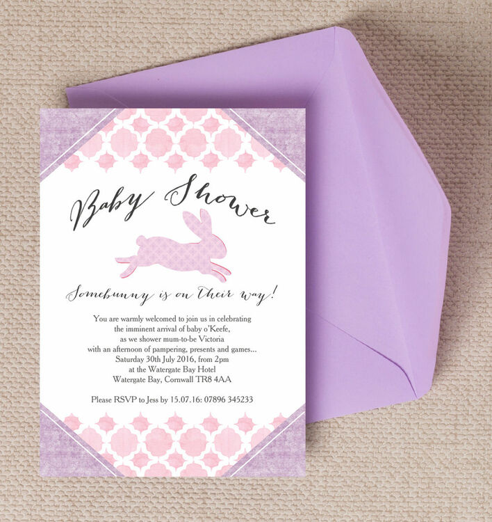 Pastel Bunny Baby Shower Invitation from £0.80 each