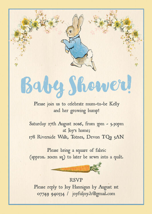 Peter Rabbit Baby Shower Invitation From  Each