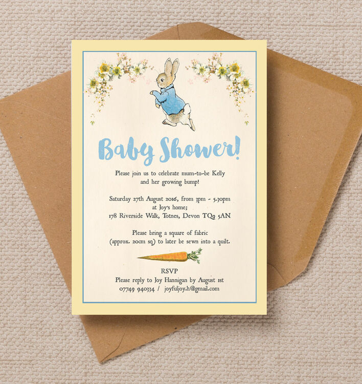 Peter Rabbit Baby Shower Invitation from 080 each