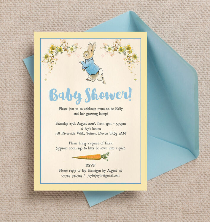 Peter Rabbit Baby Shower Invitation from £0.80 each
