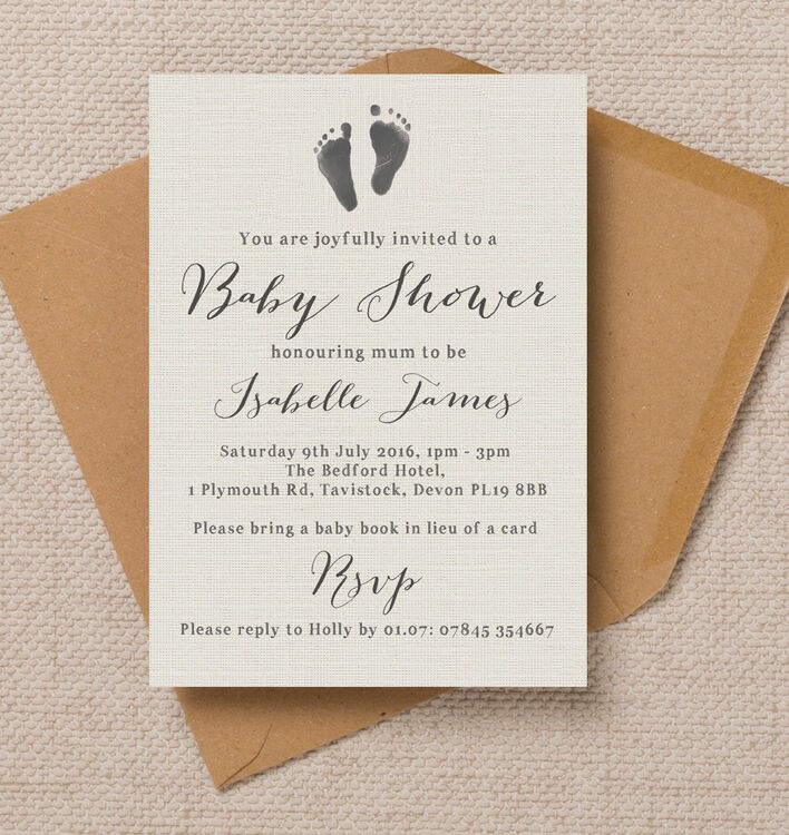 Rustic Calligraphy Personalised Baby Shower Invitation from £0.80 each