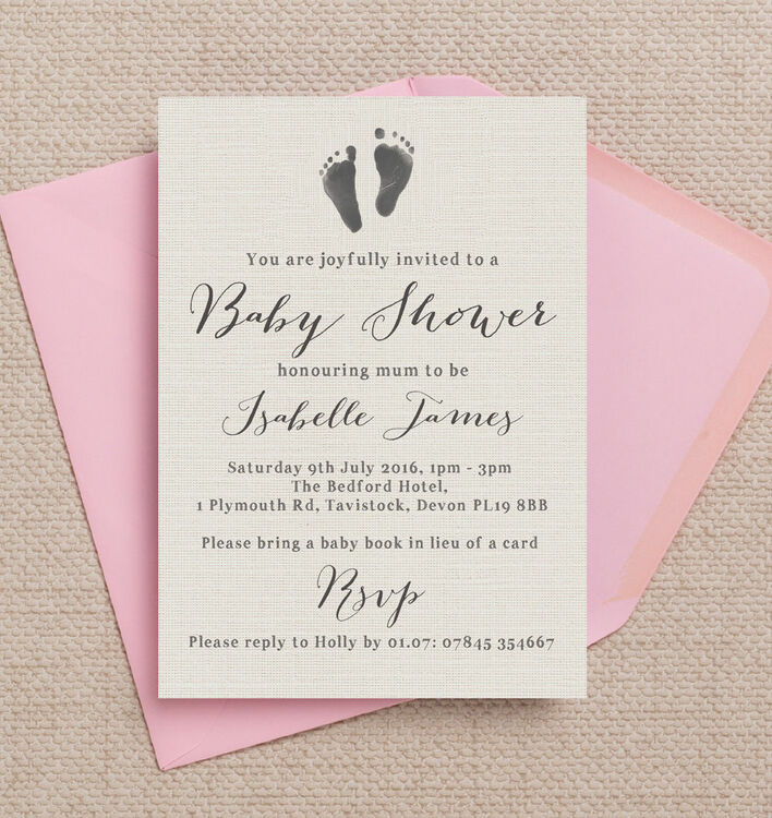 rustic calligraphy personalised baby shower invitation from 0 80 each