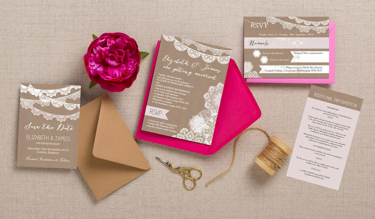 Bunting Wedding Invite: Rustic Lace Bunting Wedding Invitation From £1.00 Each