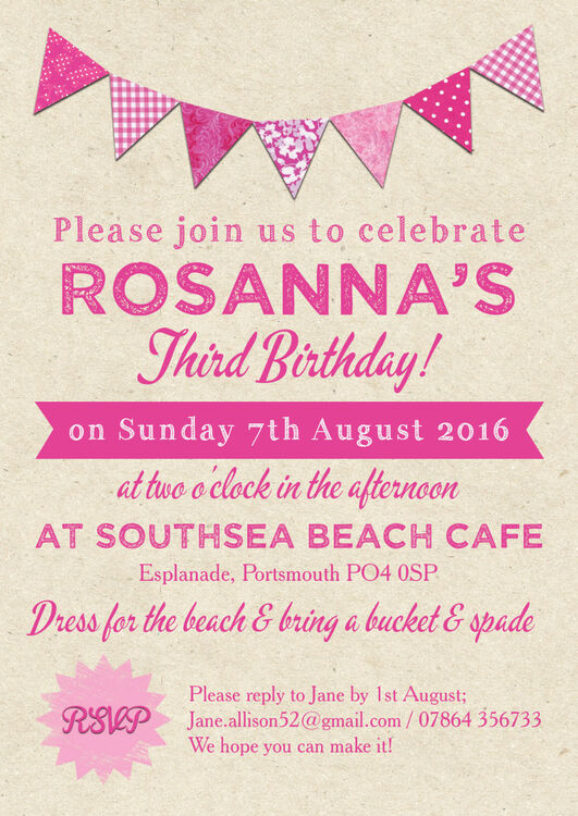 2 Vintage Pink Bunting Party Invitation Additional 3