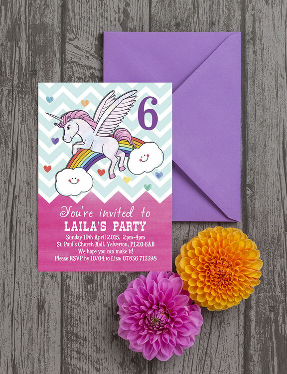 rainbow unicorn party invitation from  u00a30 80 each