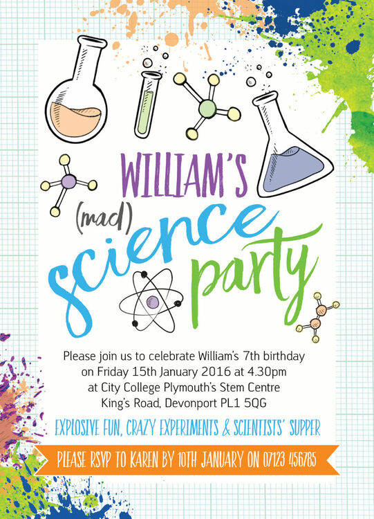 Mad Science Crazy Experiments Party Invitation