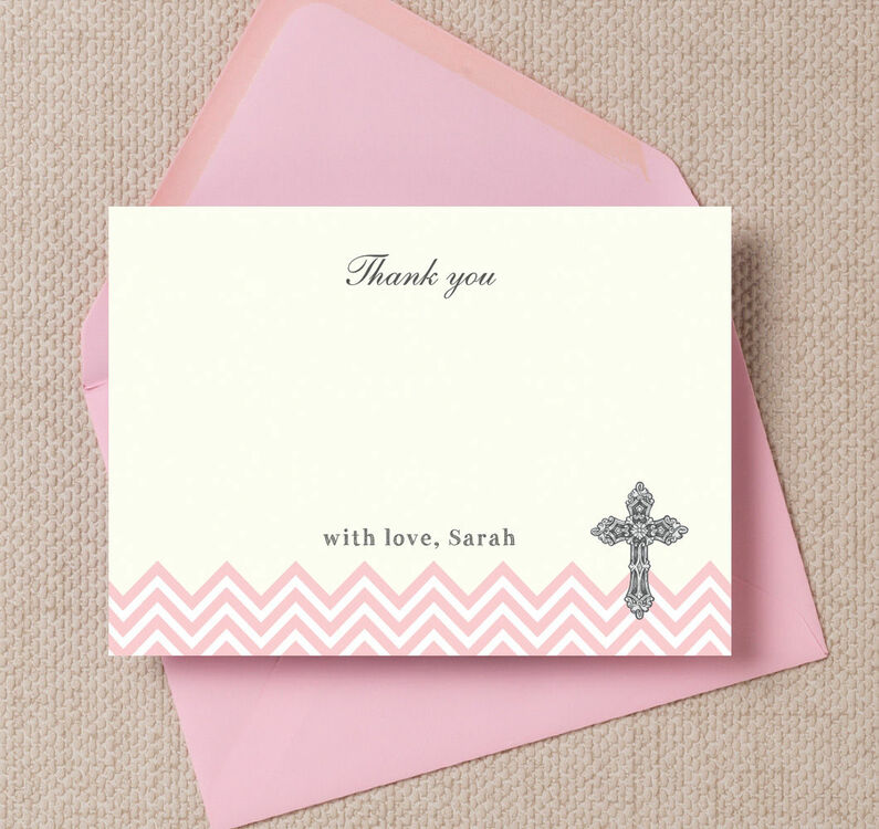 Ornate Cross Christening Baptism Thank You Cards From 0 75 Each