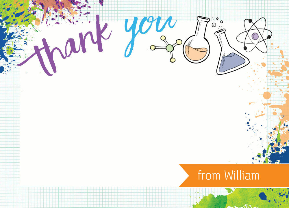 Mad Science Kids Party Thank You Cards