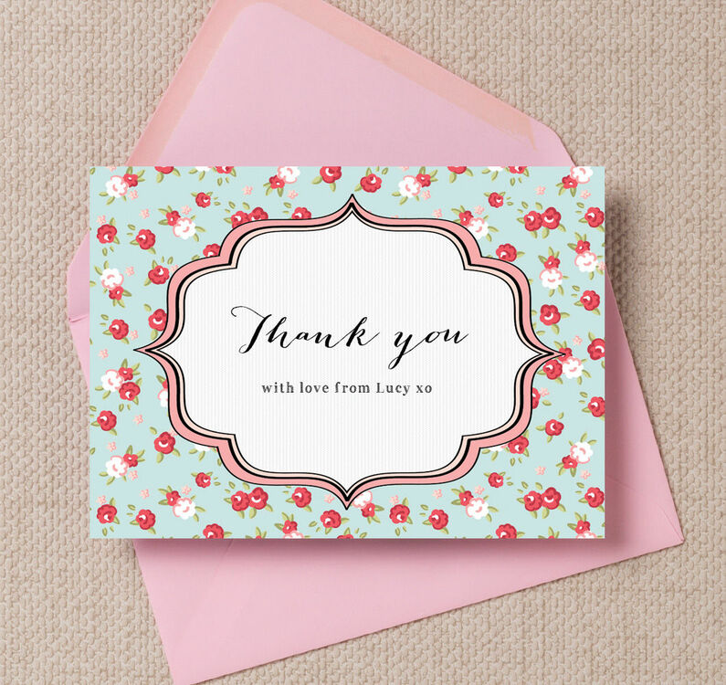 vintage rose thank you cards from 0 75 each