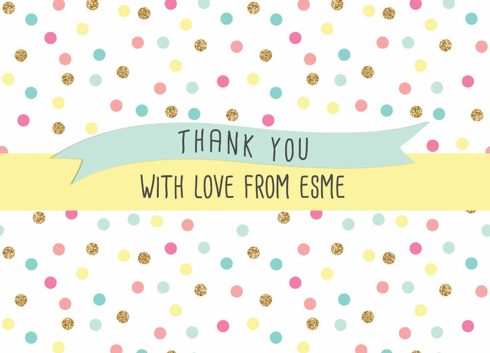 pastel confetti personalised thank you cards from 0 75 each
